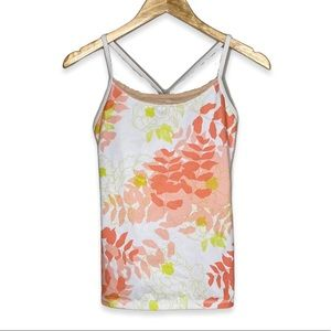 lululemon Power Y Back Tank Floral Peach Mesh Athletic Luon Workout Tank Top 6